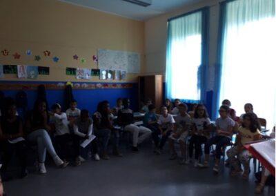 Giugno 2018- I ragazzi del CARA di Mineo in visita alla nostra Scuola per provare insieme i canti della giornata mondiale del rifugiato
