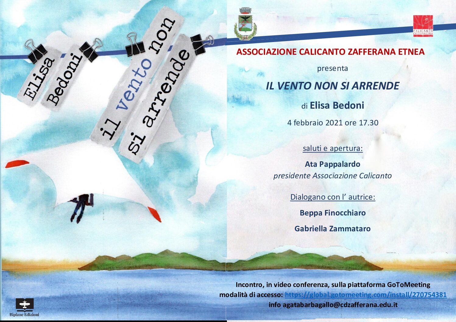 """Presentazione del libro """"Il vento non si arrende"""" di Elisa Bedoni. Giovedì 4 febbraio 2021 ore 17,30."""