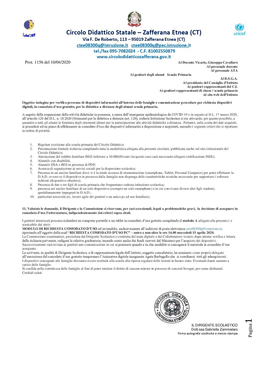 Circolare 23/2020 – indagine per verifica presenza di dispositivi informatici all'interno delle famiglie e comunicazione procedure per richiesta dispositivi digitali, in comodato d'uso gratuito, per l