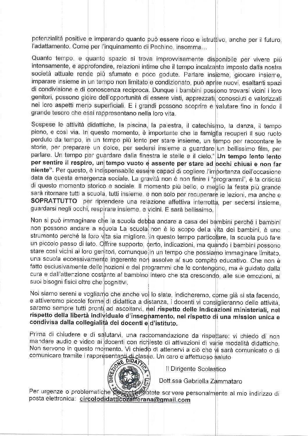 Comunicazioni Direttrice Dott.ssa Zammataro Gabriella (2° parte)